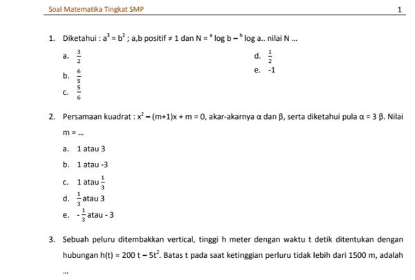 Soal TO UN Matematika SMP 2018 PDF