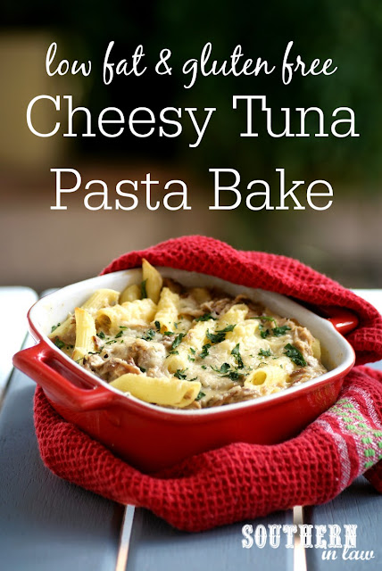 Low Fat Cheesy Tuna Pasta Bake Recipe | healthy, low fat, gluten free, high protein, egg free, nut free, clean eating recipe, lightened up, healthier