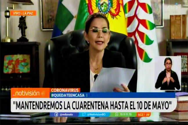Presidenta Áñez anuncia la ampliación de la cuarentena total hasta el 10 de mayo