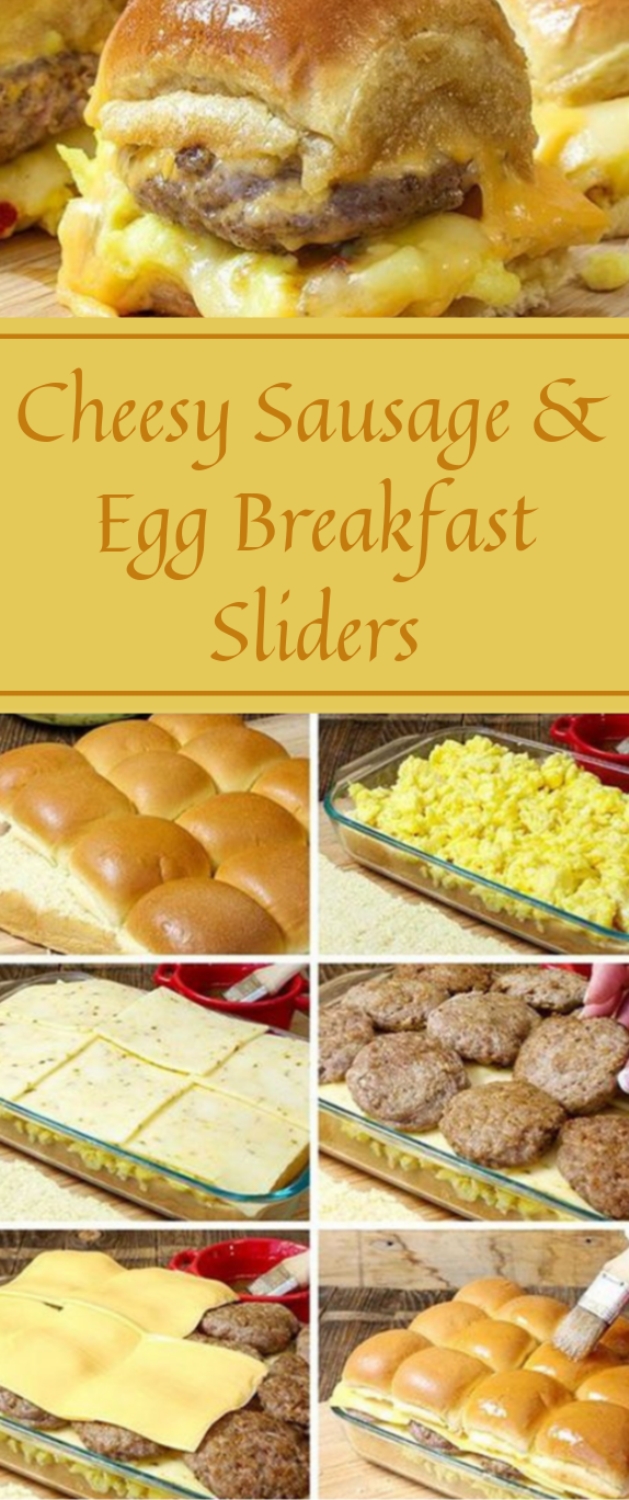 Cheesy Sausage & Egg Breakfast Sliders #dinner #egg #breakfast #familyfood #cheesy