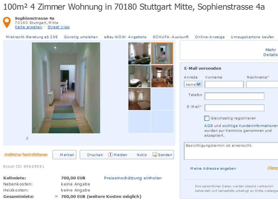 100m 4 zimmer wohnung in 70180. Black Bedroom Furniture Sets. Home Design Ideas