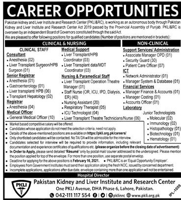 Download PKLI&RC Jobs 2021 Application Form - pkli.org.pk/careers - Pakistan Kidney and Liver Institute and Research Center Jobs 2021