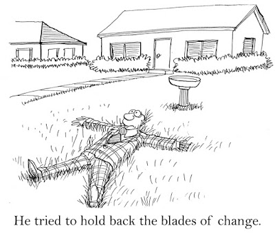 "Cartoon of a man spread out on the grass with the caption, ""He tried to hold back the blades of change."""