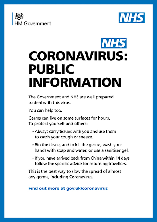 NHS / government coronavirus prevention advice