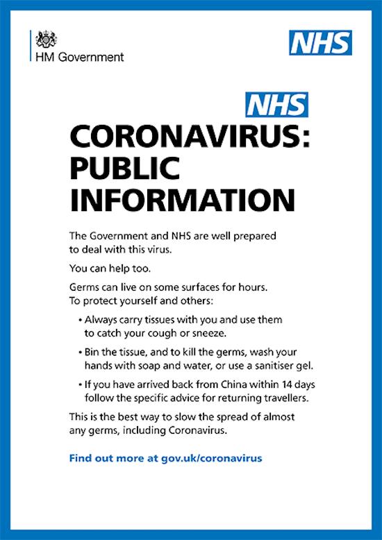 NHS / government coronavirus prevention advice