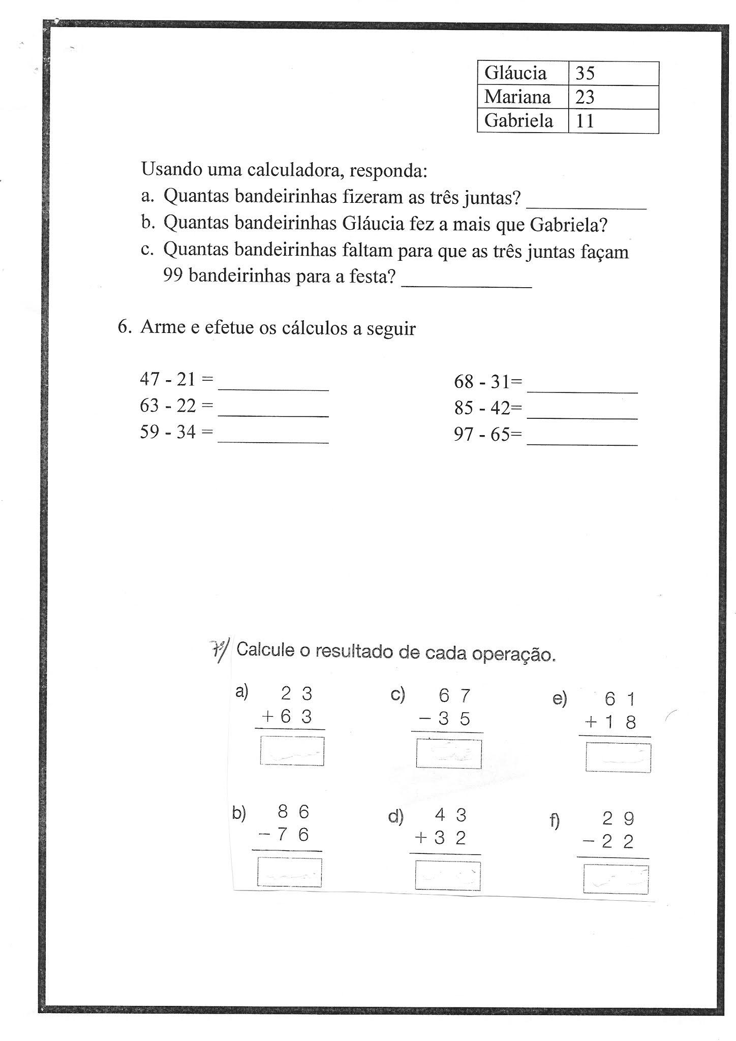 Atividade de Matemática: Subtração - Ensino Fundamental