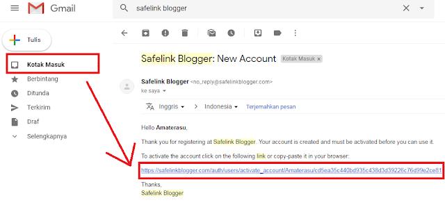 Cara memverifikasi akun safelink blogger melalui gmail google