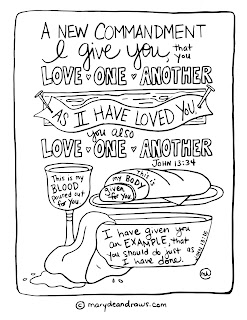 """A new commandment I give you that you love one another"" John 13:34 coloring page Communion Last Supper"