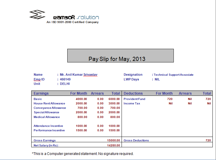 Doc673473 Simple Payslip Format Simple Salary Slip Sample Get – Salary Receipt Template