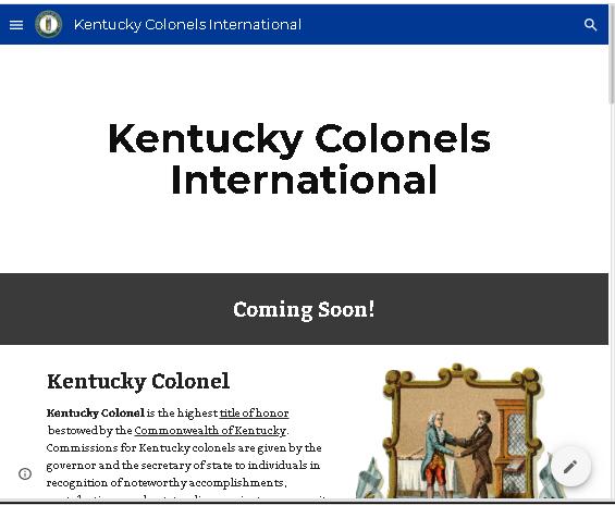 Screenshot of Kentucky Colonels website