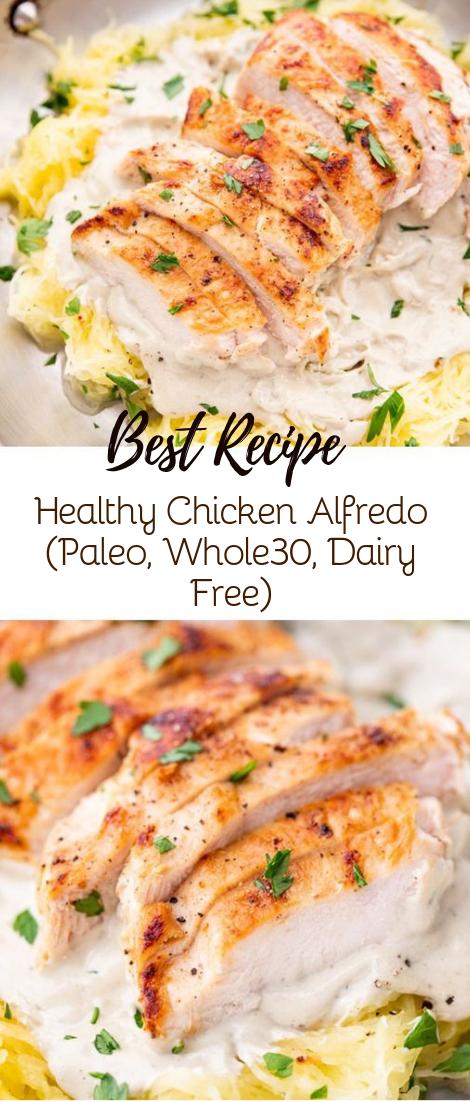 Healthy Chicken Alfredo (Paleo, Whole30, Dairy Free) #dinnerrecipe #food