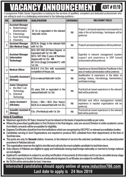 Public Sector Organization Management Posts Karachi 2019