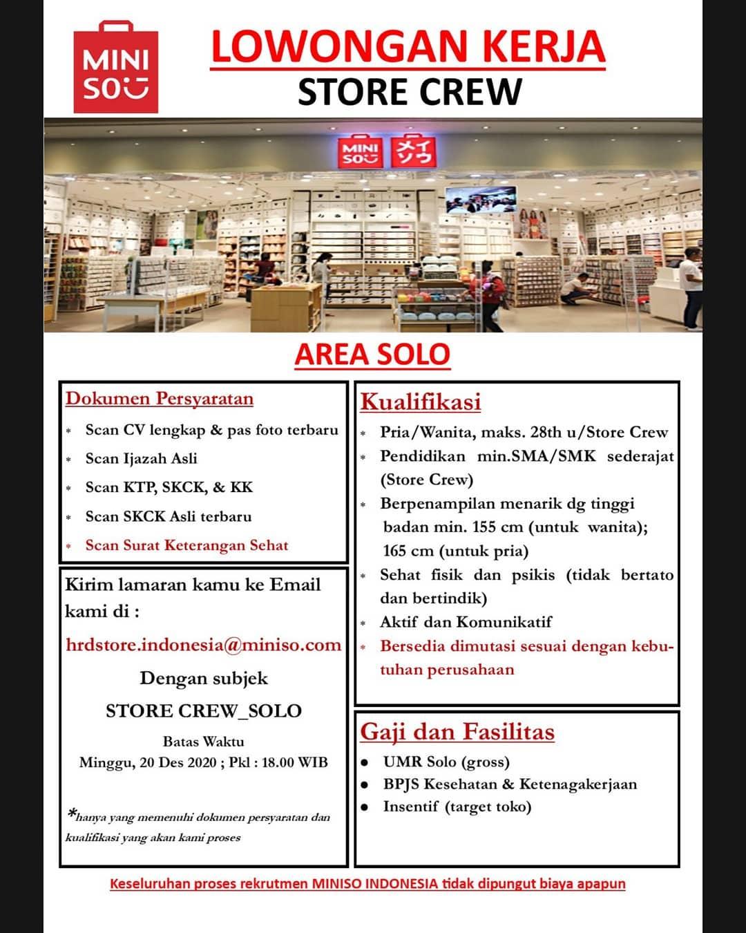 Loker Miniso Area Solo Sebagai Store Crew