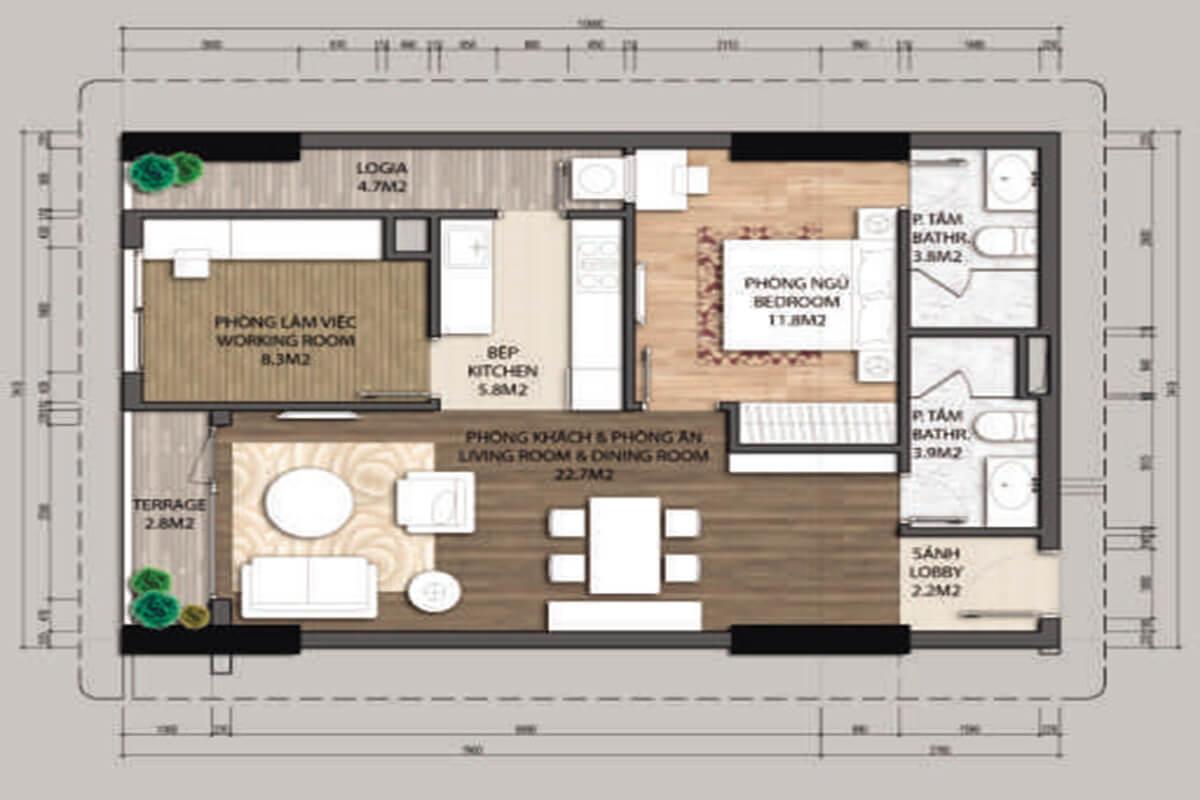 Mặt bằng căn hộ A1.1-1 phòng ngủ – 70.4m2
