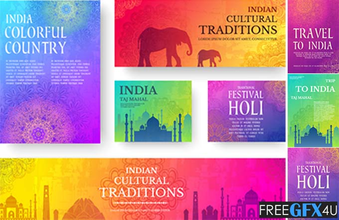 Happy Holi Vector Postcards And Banner India Trip