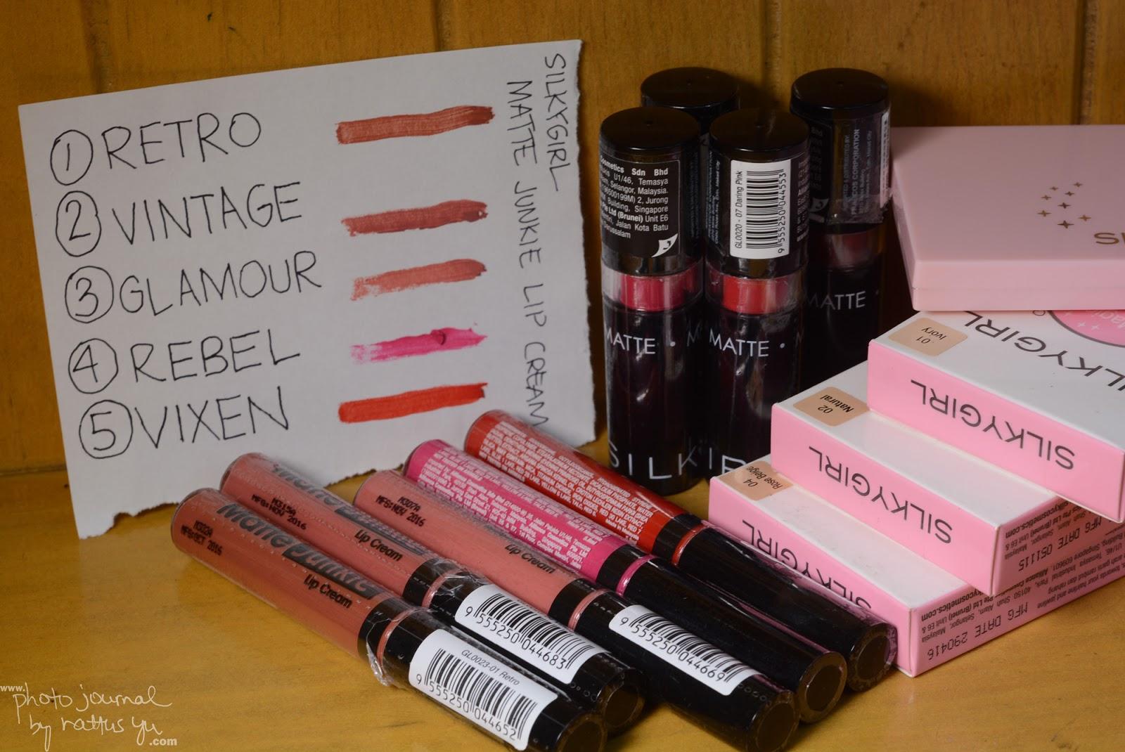 Silkygirl Cosmetics -- Magic BB Powder, Matte Junkie Lip Cream, and Go Matte Lipstick