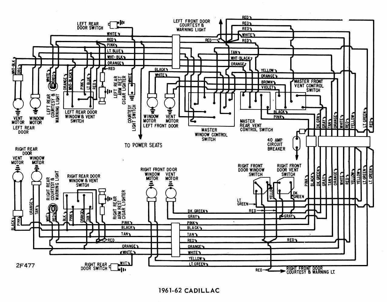 Cadillac 1961-1962 Windows Wiring Diagram