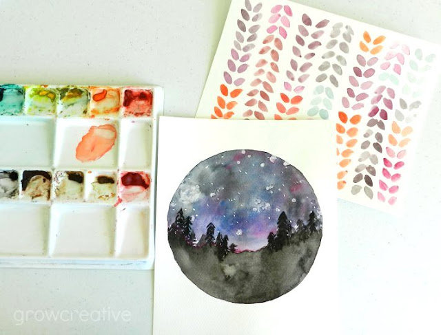 Watercolor Night Sky and Leaf designs: Grow Creative Blog