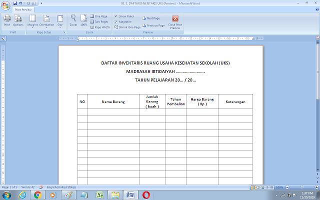 Format daftar inventaris ruang UKS sekolah