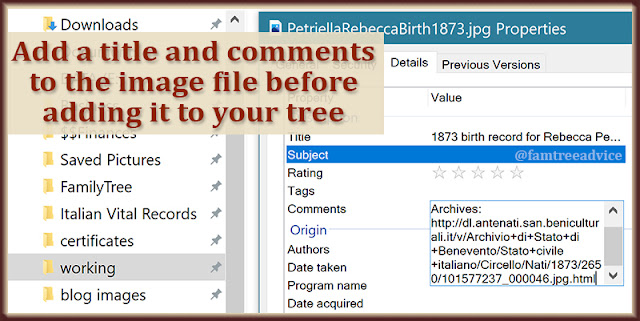 Adding information to the image itself helps in your tree and when you share the file.