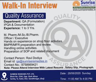 Job Availables, Sunrise Remedies Gujarat Jobs For MSc/ M.Pharm/ B.Pharm In QA Department