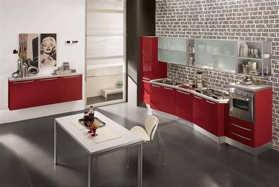 Cocinas modernas color rojo italianas colores en casa for Cocinas empotradas modernas para espacios pequenos