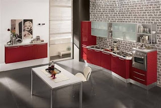 Cocinas modernas color rojo italianas colores en casa for Casa minimalista rojo
