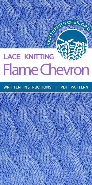 Knitting Stitches -- Beautiful knitting stitches. Stockinette Chevron Knitting. The stitch would be great for garments, blankets and bags! #knittingstitches