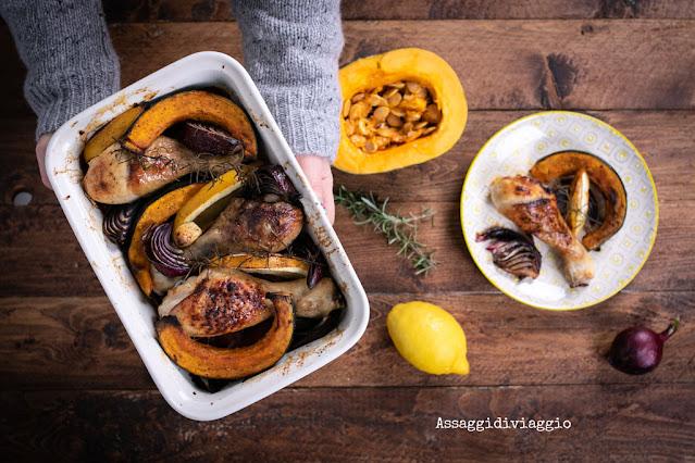 Pollo arrosto con zucca, cipolle rosse, limone e rosmarino