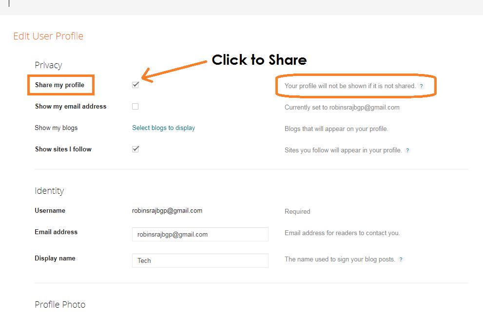 Share blogger profile