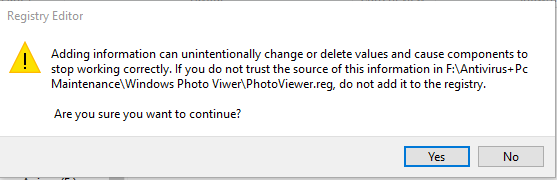 Photo Viwer Registry Confirmation