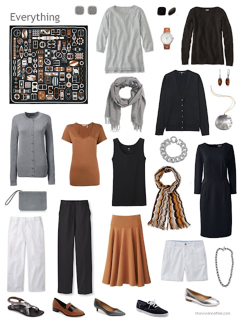 an 11-piece capsule wardrobe in black, grey, white and whiskey brown