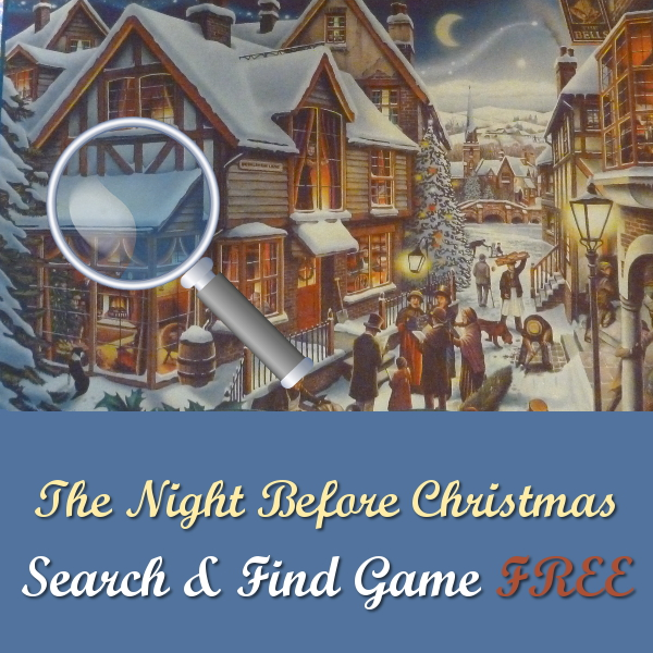 The Night Before Christmas Jigsaw Puzzle: Search and Find Game FREE picture provided fun family game find all 12 carols in the festive image