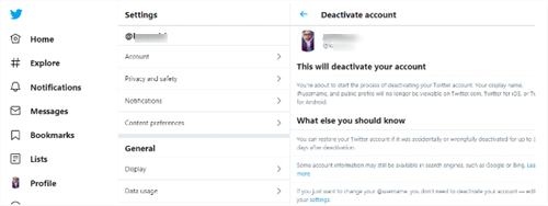 Steps to delete twitter account via PC