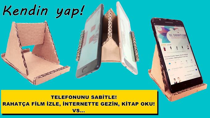 Kartondan cep telefonu standı (tutucusu) yapımı - VİDEO
