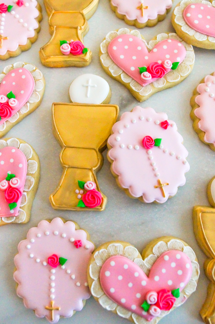 First Communion Cookies for a Girl. Chalice, rosary, and hearts.