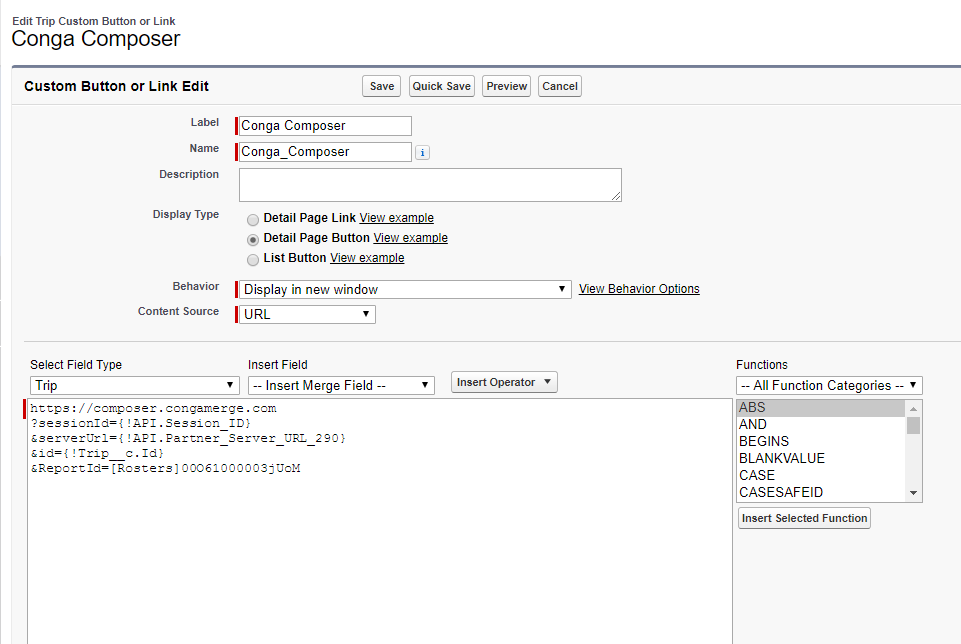 Adding Salesforce Reports to Conga Templates