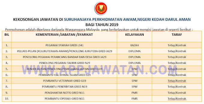 Jawatan Kosong Terkini di Suruhanjaya Perkhidmatan Awam,Negeri Kedah Darul Aman.
