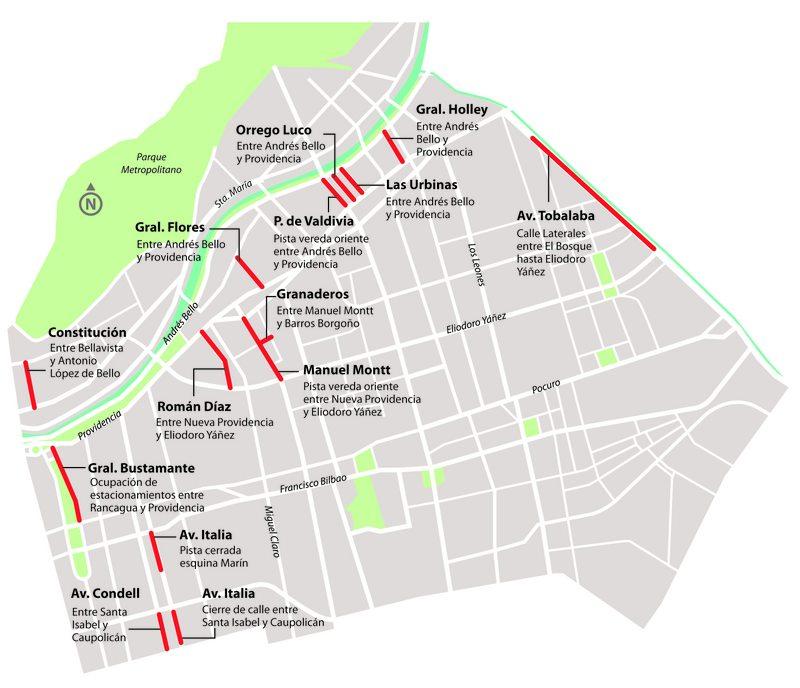 Mapa con las calles que cerrarán en Providencia para ayudar a los restaurantes