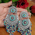 Blue beads silver earrings
