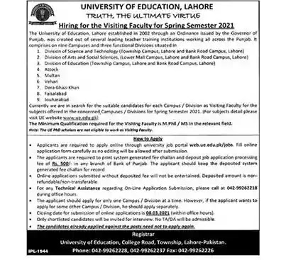Latest Jobs in Pakistan University of Education Lahore Jobs 2021 | Apply Online