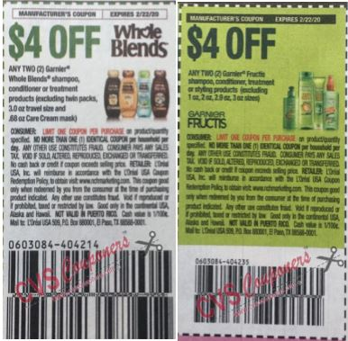 garnier fructis & whole blends insert coupons