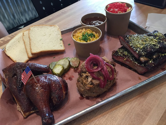 Texas style BBQ at Chicago Culinary Kitchen including Amish chicken, pulled pork and ribs.