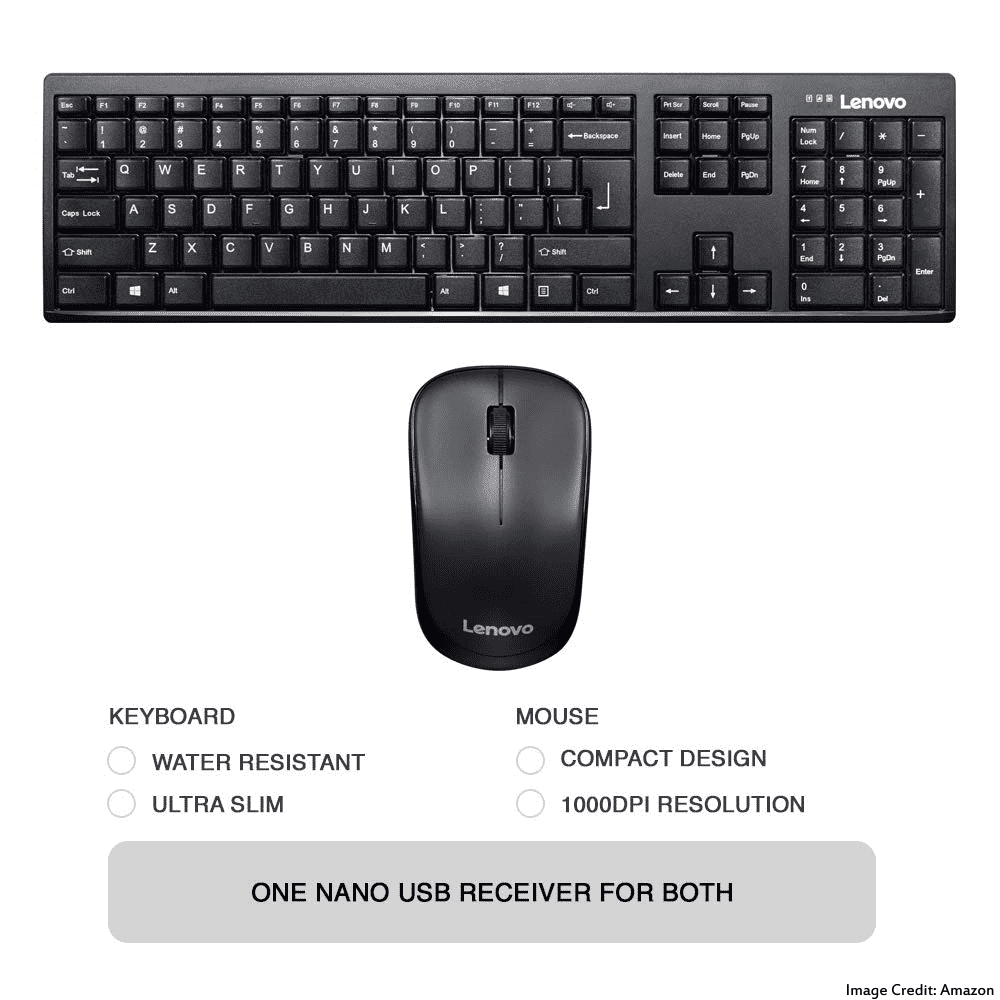 The image of Lenovo 100 GX30L66303 wireless keyboard and mouse combo. Its color is black. Moreover, It has a warranty of 3 years. Furthermore, The keyboard has a total of 106 keys and the mouse has a total of 3 buttons.