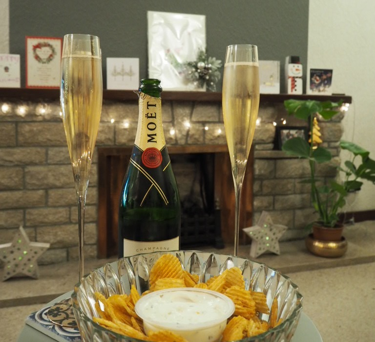 Champagne and crisps - a quiet hogmanay