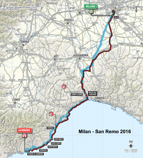 Milan San Remo route map 2016