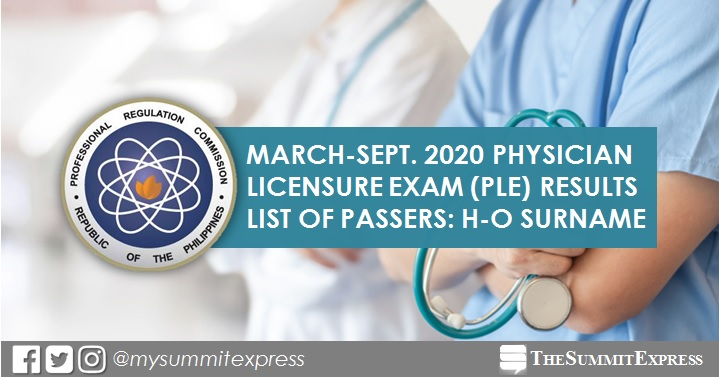 H-O PLE Passers: March, September 2020 Physician board exam result