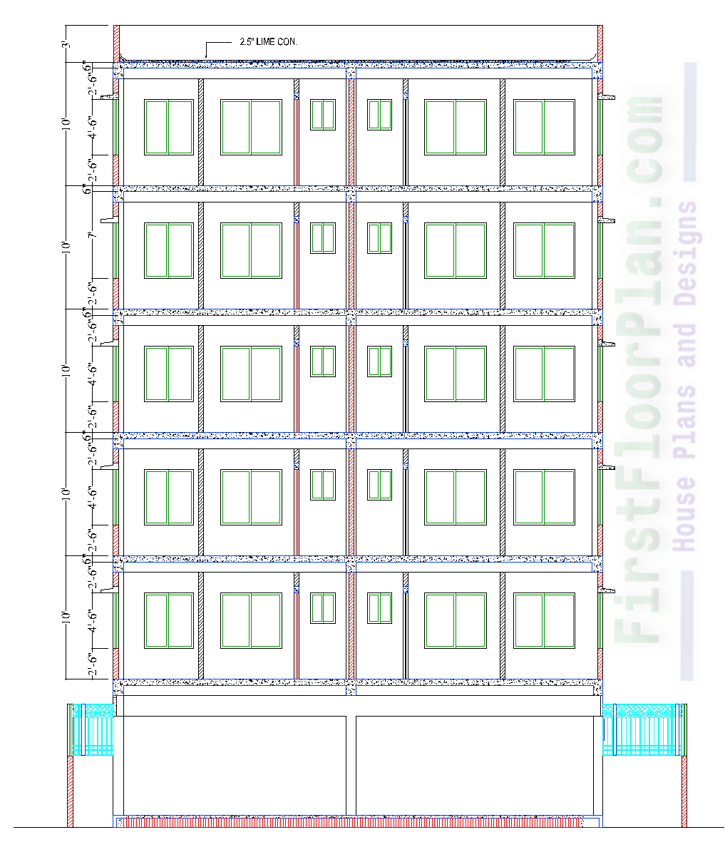 6 Storey Residential Building Section