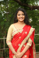 Akshara in Red Saree Golden Choli at LV Movie Makers Production No 1 Movie Opening ~  Exclusive 059.JPG