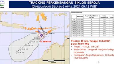 BMKG Sebut Siklon Tropis Seroja Kian Menjauh